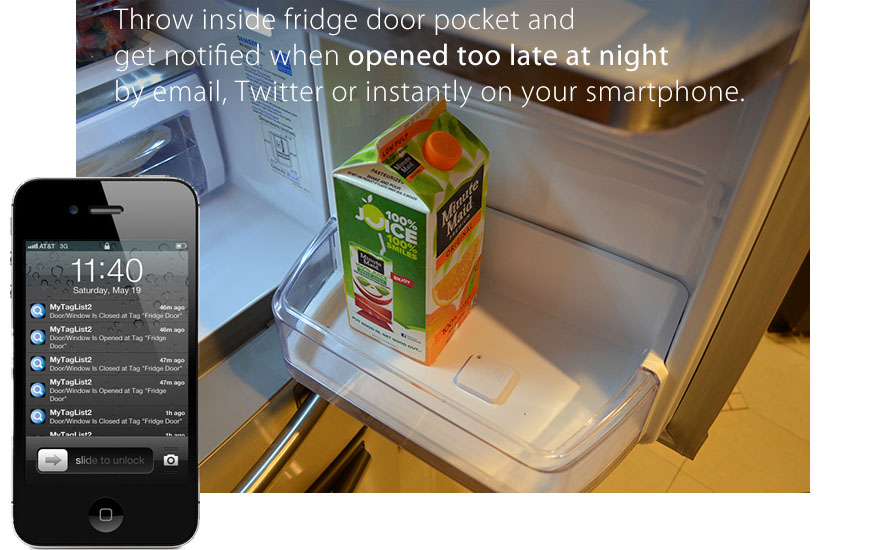 Throw inside fridge door pocket and get notified when opened too late at night by email, Twitter, or instantly on your smartphones.